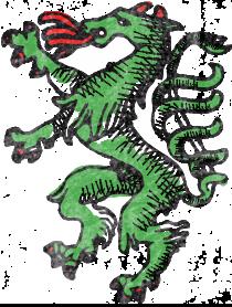 Illustration eines grünen Wappentiers