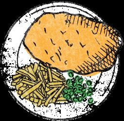 Illustration von Schnitzel, Pommes und Gemüse
